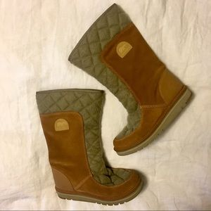 Quilted flannel and suede Sorel boots